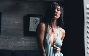 rings, boobs, brunette, tank top, Kristina Chai, nipples through clothing