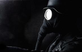 black, soldier, gas masks