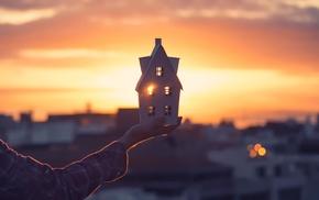 sunlight, house, hand