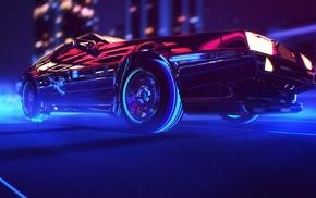 synthwave, car, 1980s, retro games, neon, DeLorean