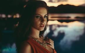 girl, David Olkarny, blue eyes, open mouth, Aurela Skandaj, model