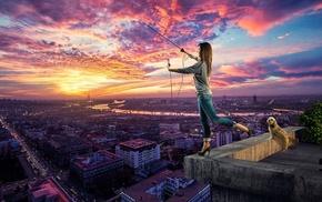 pet, bridge, city, lights, antenna, sunset