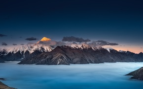 mist, landscape, blue, mountain, moon, panoramas