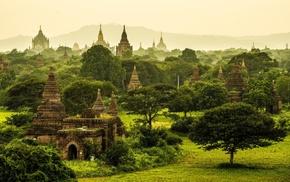 Buddhism, grass, mist, Myanmar, landscape, nature