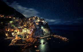 nature, Italy, boats, architecture, town, Manarola