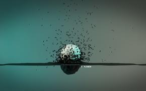 vintage, explosion, minimalism, 3D, sphere, render