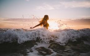 water, blonde, bikini, waves, girl, sea
