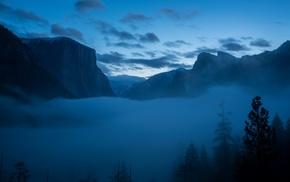 mountain, mist, landscape