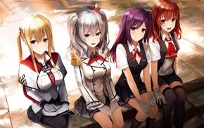 Graf Zeppelin KanColle, anime, Arashio KanColle, school uniform, Hagikaze KanColle, Kashima KanColle