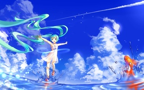 twintails, water, sky, clouds, anime girls, goldfish
