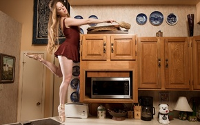 model, girl, kitchen