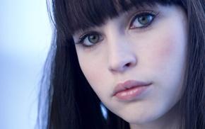 pale, dark hair, green eyes, Felicity Jones