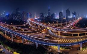 cityscape, night, China, bridge, road, city