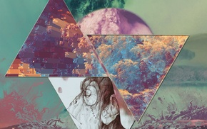triangle, smoking, mountain, Earth, space, colorful