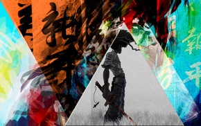 triangle, Afro Samurai, mixed martial arts, colorful, katana, anime