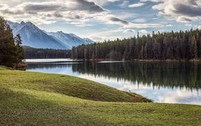 mountain, lake, trees, landscape