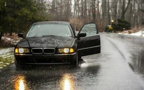 car, rain, BMW 740, black, old car