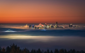 sunrise, mist, city lights, city