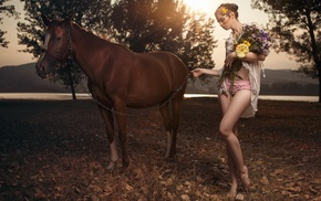 horse, model, animals, girl