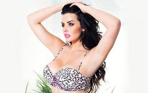 natural boobs, bikini tops, simple background, big boobs, model, brunette