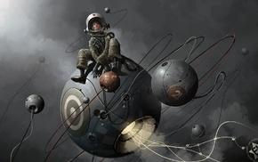 digital art, men, sphere, astronaut, Derek Stenning, universe