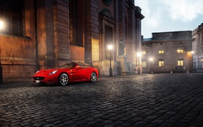 Ferrari California, building, red cars, architecture, lamps, street light