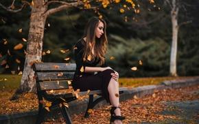 leaves, heels, black dress, long hair, blonde, girl outdoors