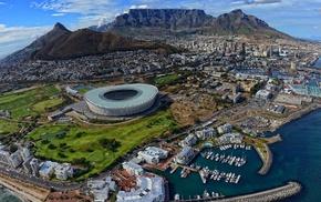 city, landscape, Cape Town, stadium, harbor, aerial view
