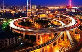 city, night, city lights, traffic, Nanpu Bridge, long exposure