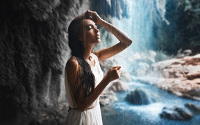 waterfall, wet body, wet clothing, Ivan Gorokhov, closed eyes, river