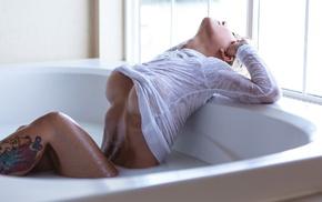 blonde, Brandie Suicide, milk bath, Justin Swain, girl, model