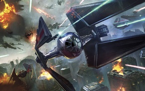 X, wing, Star Wars, TIE Interceptor, battle, city