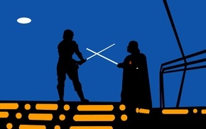 minimalism, fighting, Darth Vader, Star Wars, lightsaber, Luke Skywalker