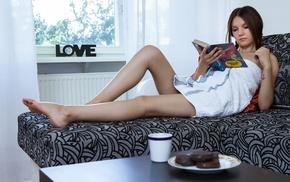 couch, brunette, legs, ponytail, Iva, girl