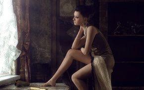 girl, artwork, render, window