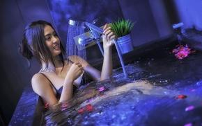 bathtub, Asian, wet, water, model, girl