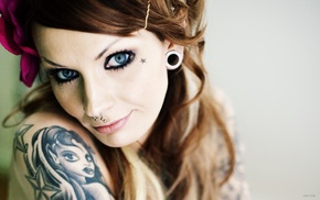face, piercing, model, tattoo, girl, portrait