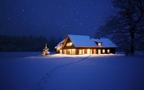 landscape, snow, stars
