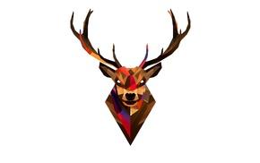 Justin Maller, artwork, deer, simple background