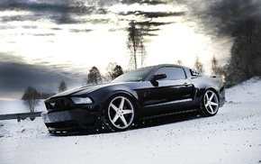tuning, winter, Ford Mustang, snow, car