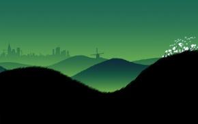 hill, windmills, grass, construction, city