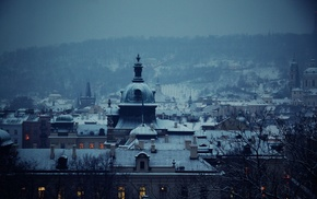 building, cold, snow