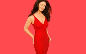 simple background, Catherine Zeta Jones, actress, dress