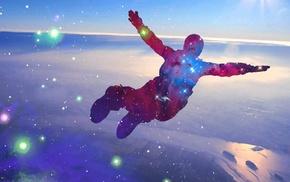 jumping, sky, stars, skydiver