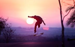 sunrise, skateboarding, stunts