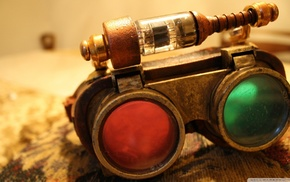 red, steampunk, green, glasses