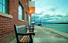 lake, harbor, bench