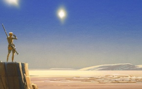Tatooine, artwork, desert, concept art, dual monitors, multiple display