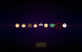 Darth Vader, Han Solo, Luke Skywalker, Princess Leia, R2, D2