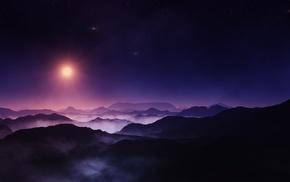 nature, Sun, mist, mountain, landscape, starry night